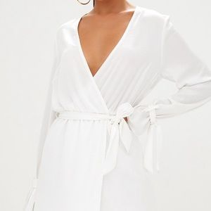 Nwt Pretty Little Thing White Satin Wrap Dress